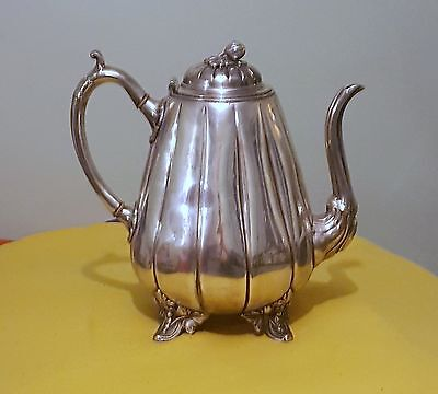 Fine Antique Victorian Chased Silver Plated Tea Pot Thomas Otley & Sons C.1872