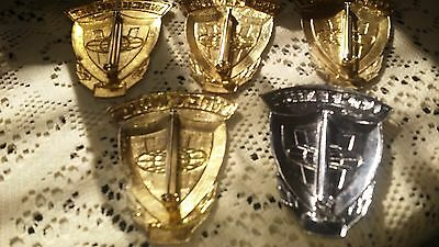 Vintage Blackington Security Badge Numbered Lot of 5 (4 Gold/1 Silver)