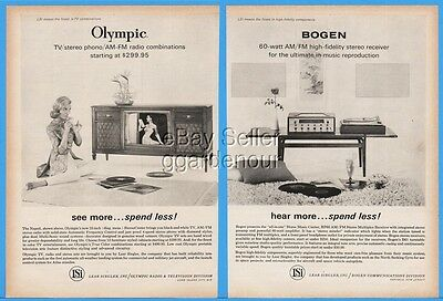 1963 Lear Siegler Bogen Stereo Olympic Console Television TV Radio Print Ad
