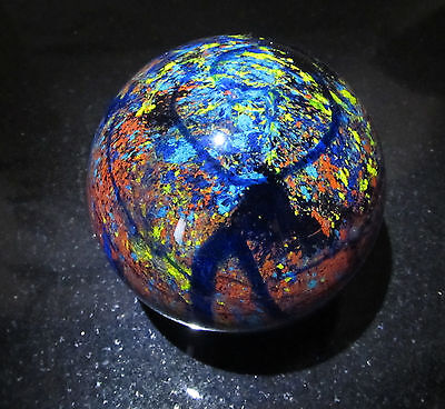Vintage Art Glass  BLUE PLANET Large PAPERWEIGHT  Cobalt  3 1/2 inches