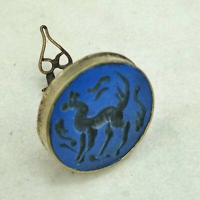 Rare Old Ancient  Medieval Horse Lapis Stone Stamper #1