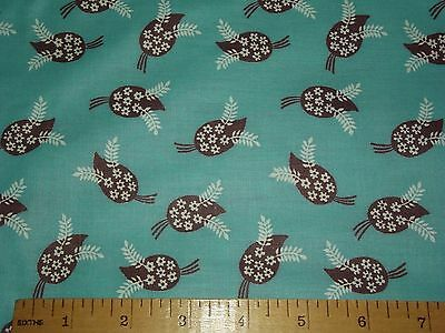 4 Yards Vintage 1940s 100% Cotton Fabric in Teal with Brown White Leaves Flowers