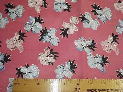 4 Yards Vintage 1940s 100% Cotton Fabric in Pink w/ Blue Black Pink Flowers