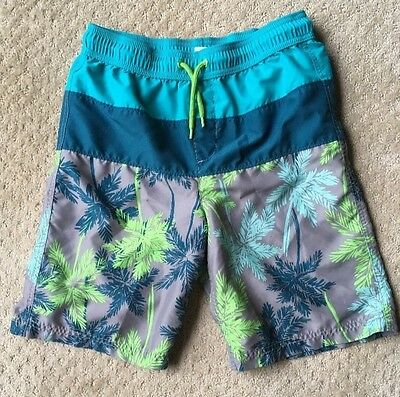 Lands End Boys Swim Trunks Shorts Size Large 14-16  Green Gray Teal Palm Trees