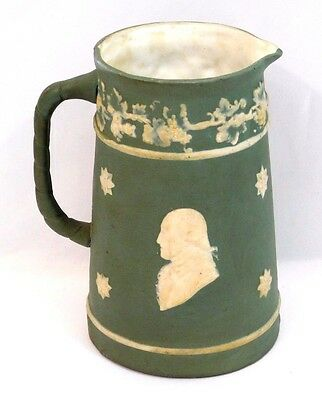 Antique Wedgewood ~Jasperware~ Green Syrup/Milk Creamer Pitcher