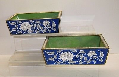 Qing Period Chinese Blue  Enamel Cloisonne Planters (2) Floral Pre 1913