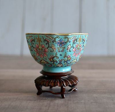 Vintage Chinese Porcelain Bowl w/ Wooden Stand Very Small Sized Signed on Bottom