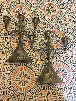 Kayserzinn Pewter Candelabra Set Of 2 Vintage Antique