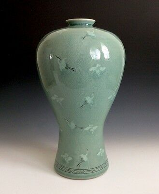 Large Celadon Crane Green Glazed Ceramic Pottery Korean Vase Signed By Maker