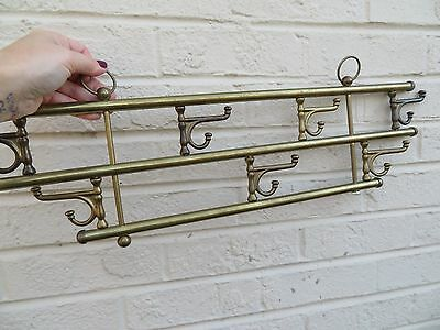 Vintage BRASS Wall Mount Hanging 7 Swivel Double Hook Hardware Coat Hat Rack