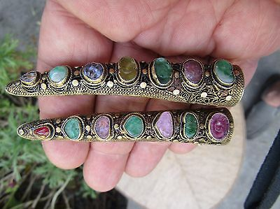 One Pair Antique Chinese Silver Filigree Finger Shaped Guard Brooch Multi Stone!