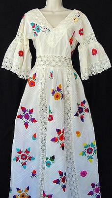 Vtg 60s Embroidered Flower Crochet Lace Long Mexican White Wedding Dress