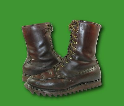 Vintage 1960's GOLD BOND Brown Leather Moc Toe Ripple Sole Hunting Boots 8.5 D