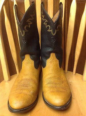 Men's Ariat Camel /Black Pebbled Leather Western Boots Sz 9EE