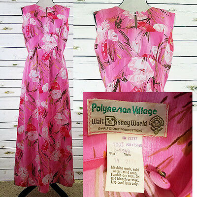 Disney World Polynesian Village Dress Size 14 Vintage 70's Pink Floral Tropical