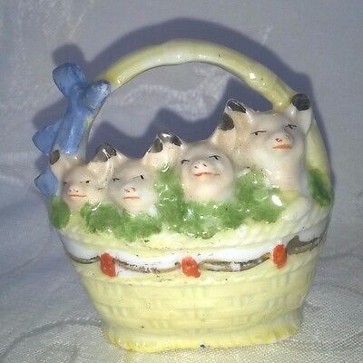 Vintage Miniature China Luster Pigs In A Basket Germany $11.99