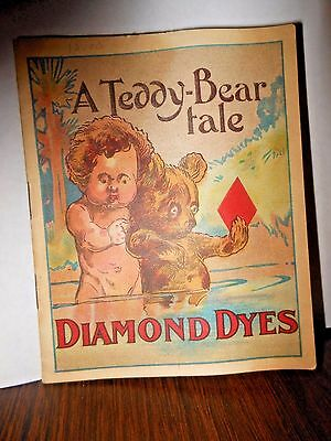"""A Teddy -Bear-Tale of Diamond Dyes - 5"""" Rare 1907-8 Promotional Book Booklet"""