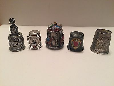 Pewter and Tin Thimbles, lot of 5 - Air Force Academy, Rocky Mountains, Charlest