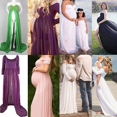 Maternity Chiffon Gown Maxi Dress Wedding Party Dresses Photography Prop Clothes