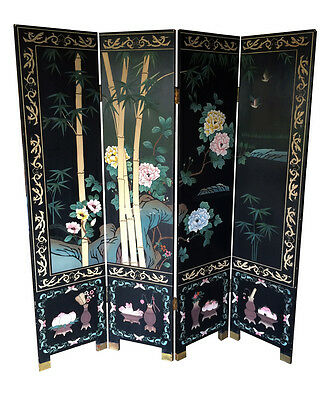 "Vtg Chinese 4 Panel Carved Folded Room Screen Divider Painting 72"" X 64"""