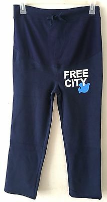Free City Women's Maternity Small M Sweat Pants Blue Fleece Sweatpants Cotton