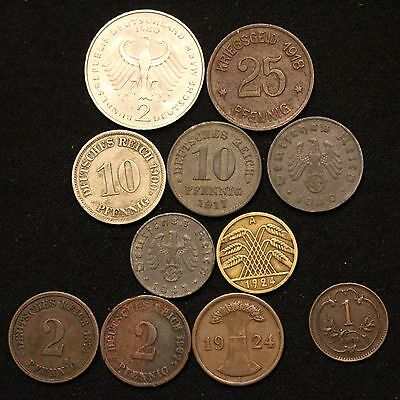 German Lot of Coins 1874-1980 1874 2 PFENNIG 1900 10 PFENNIG THIRD REICH COPPER