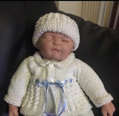 Hand Knitted - Matinee Jacket & Hat Set