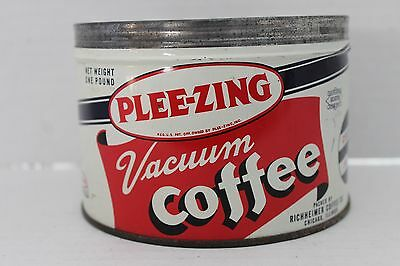 Vintage Pleez-Zing One Pound Coffee Tin  No Cover / Lid