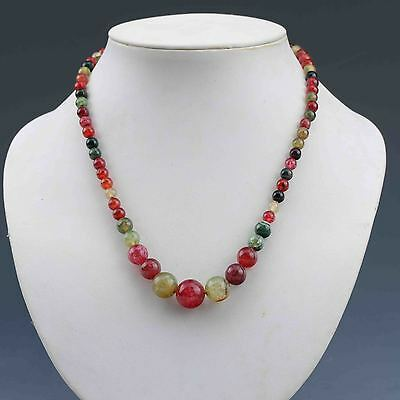 Chinese Natural Jade Handwork Beads Necklace G845