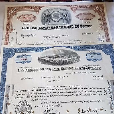 2 stock certificates (1965/68) P&LE & Erie & Lackawanna RRs