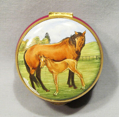 Staffordshire Enamel Hand Painted England Horse with Colt Trinket Box