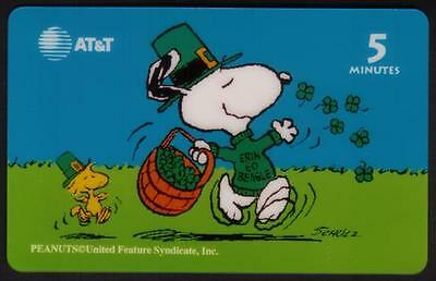Snoopy Card-A-Month: #6 (March) Snoopy Tossing Around 4-Leaf Clovers Phone Card