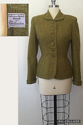 VTG early 1950's Wool Tweed Suit Fitted Waist Pencil Skirt Sz S/XS