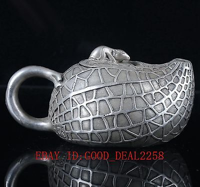 China Silver Copper Hand Carved Peanut Pattern Teapot & Mouse Lid BT013