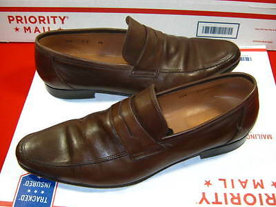 Mens Loding  Brown Leather Loafer Shoes Size 9.5