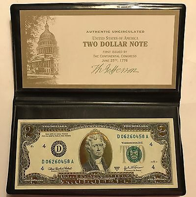 new 2003A-22K GOLD LEAF $2 TWO DOLLAR BILL FEDERAL RESERVE NOTE UNCIRCULATED