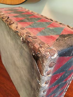 Vintage Square Drum with Red and Black Harlequin Pattern on Sides 8.75X10.25X4.5