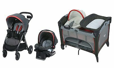 Baby Stroller Travel System Car Seat Nursery Newborn Nappier Full Size Bassinet
