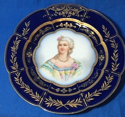 19th century hand painted artist signed Sevres porcelain cobalt blue plate