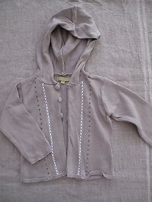 grain de ble Grey Knitted Hooded Unisex Cardigan 6-12 Months Size 0 EUC