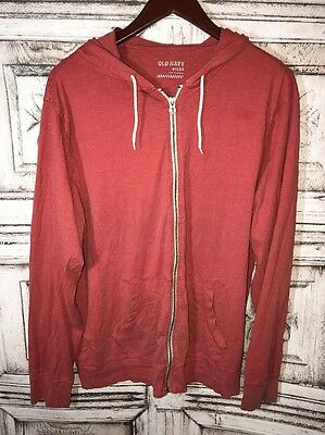 Old Navy Women's Hoodie Salmon Full Zip Cotton Blend Long Sleeve Size Large