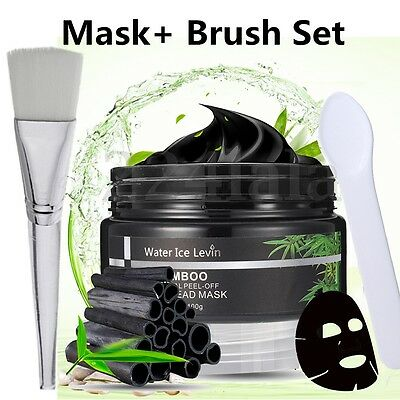 Bamboo Charcoal Blackhead Remover Deep Clean Peel-off Mud Face Mask & Mask Brush