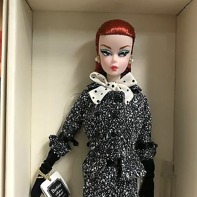 2017 Barbie BFMC Fashion Model Black and White Tweed Suit Silkstone Doll