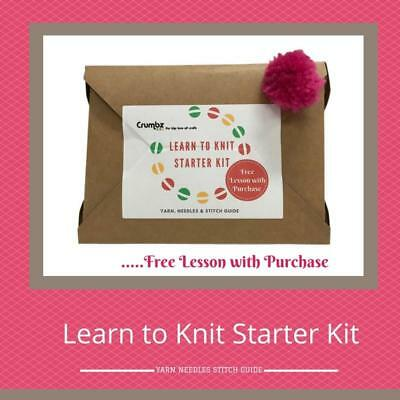 NEW Learn to Knit Starter Kit Crumbz Craft - Knitting, Crochet, Sewing, Patterns
