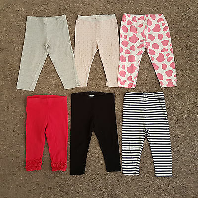 Baby Girl 6x Leggings Pant Winter Bundle Clothing Lot Size 0 6-12 Months Ex. Con