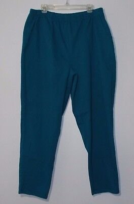 Denim & Co. Blue Green Elastic Waist Cotton Pants Women's Plus 2X