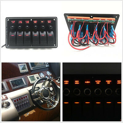 12-24V 6 Gang 3 Pin Autos Marine Rocker Switch Panel Red LED Overload Protected