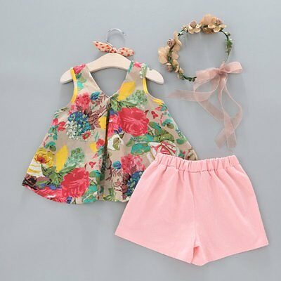Summer Baby Girls Bowknot Floral Vest + Shorts Pants Outfits Clothes Set Holiday