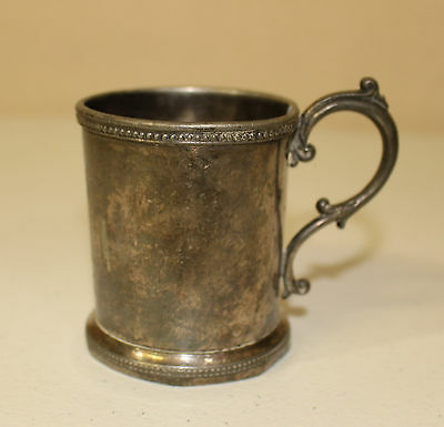 Wm Rogers & Son Silverplate Cup Etched 1870 Marked 96 Antique Vintage Cup