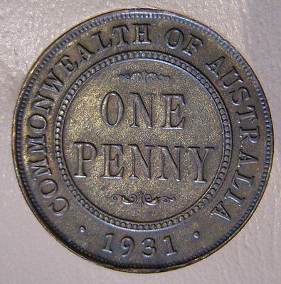 1931 Penny Aligned 1 Rare Indian Obverse 8 Pearls Lustre Error Variety